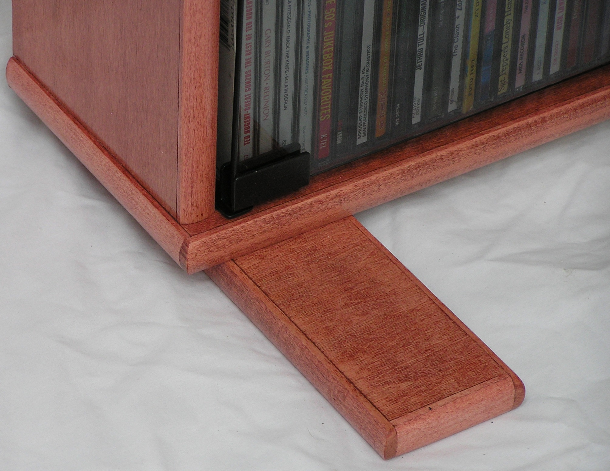 Dvd rack with inch glass doors in maple minwax