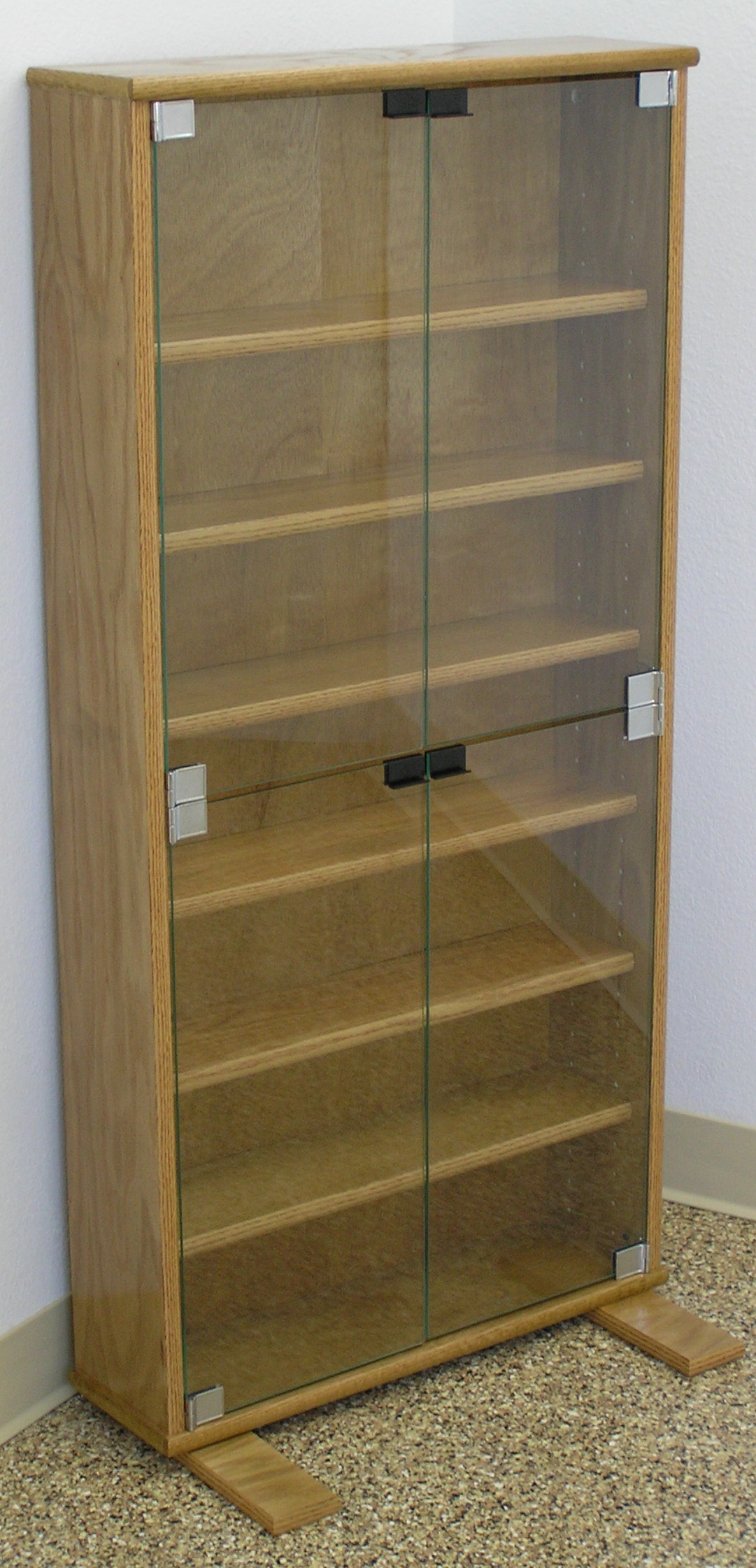 DVD Storage Cabinets 27 to 72H Oak Maple Glass Doors. Many finishes